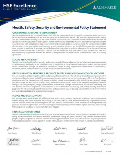 Health, Safety, Security & Environmental Policy